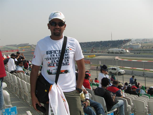 Nikhil attended the first Indian grand prix.