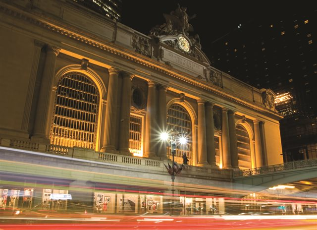 external night view of Grand Central Station in New York