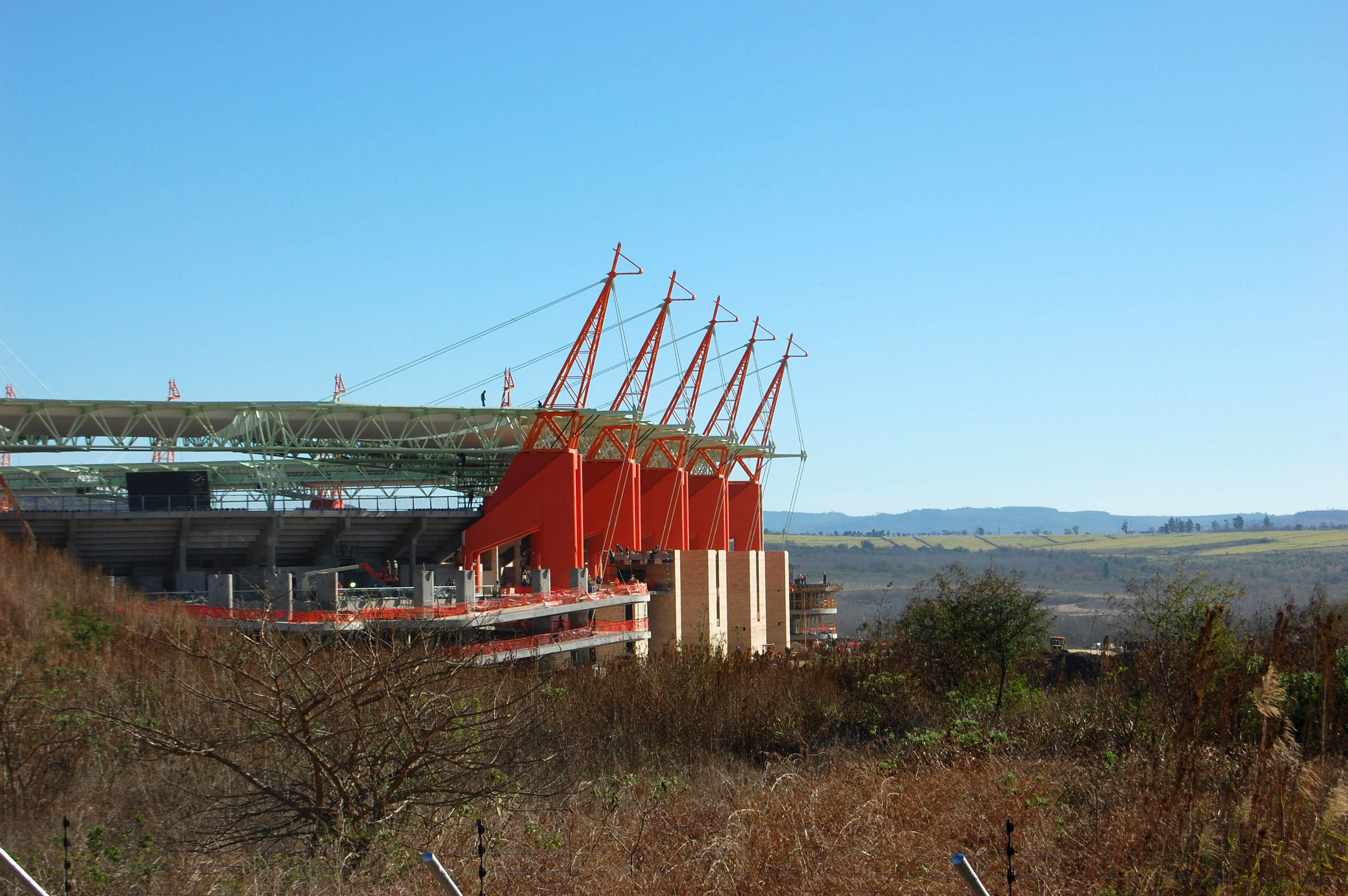 view of the stadium from a distance