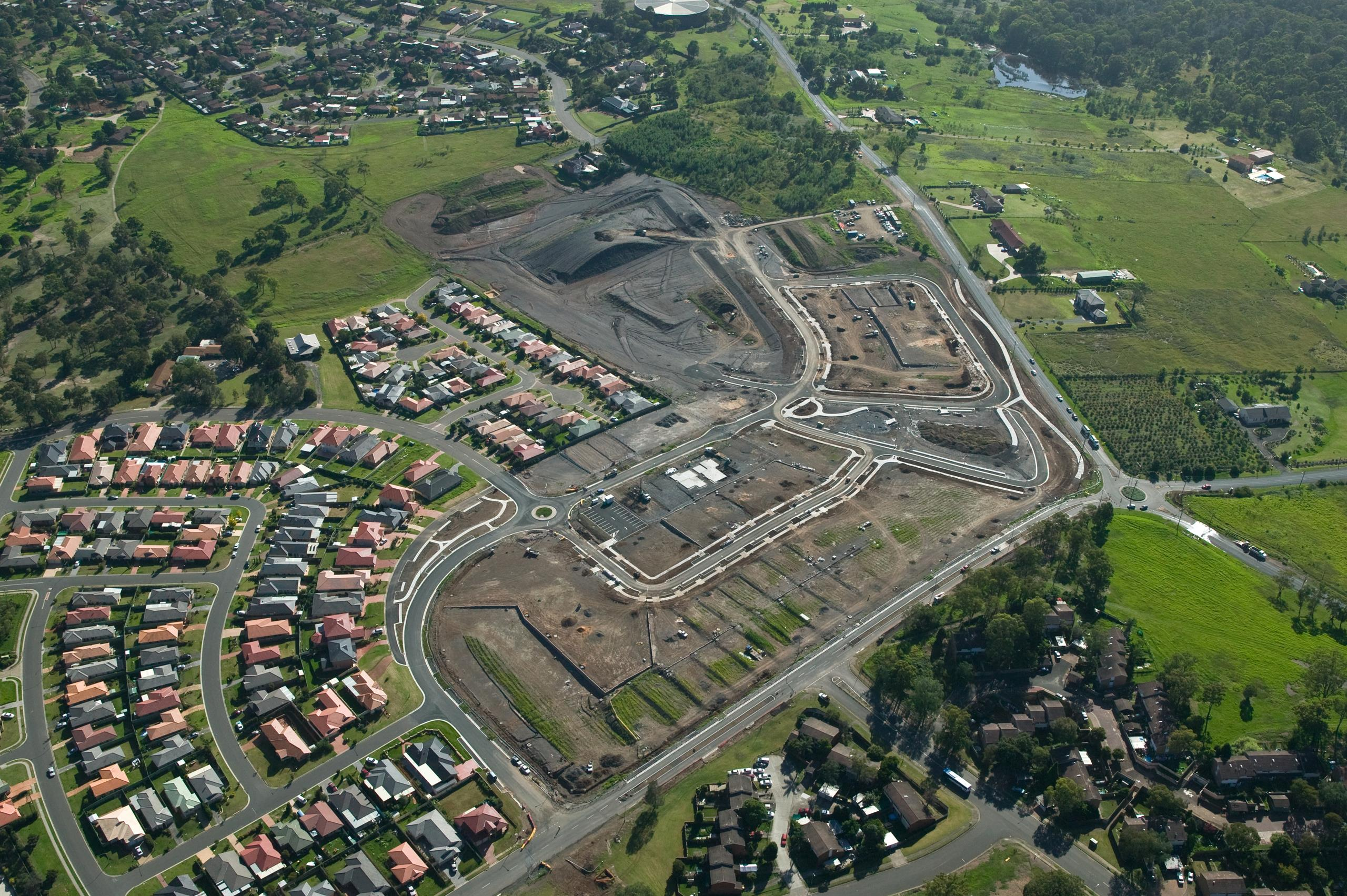 aerial view of Minto suburb in Sydney