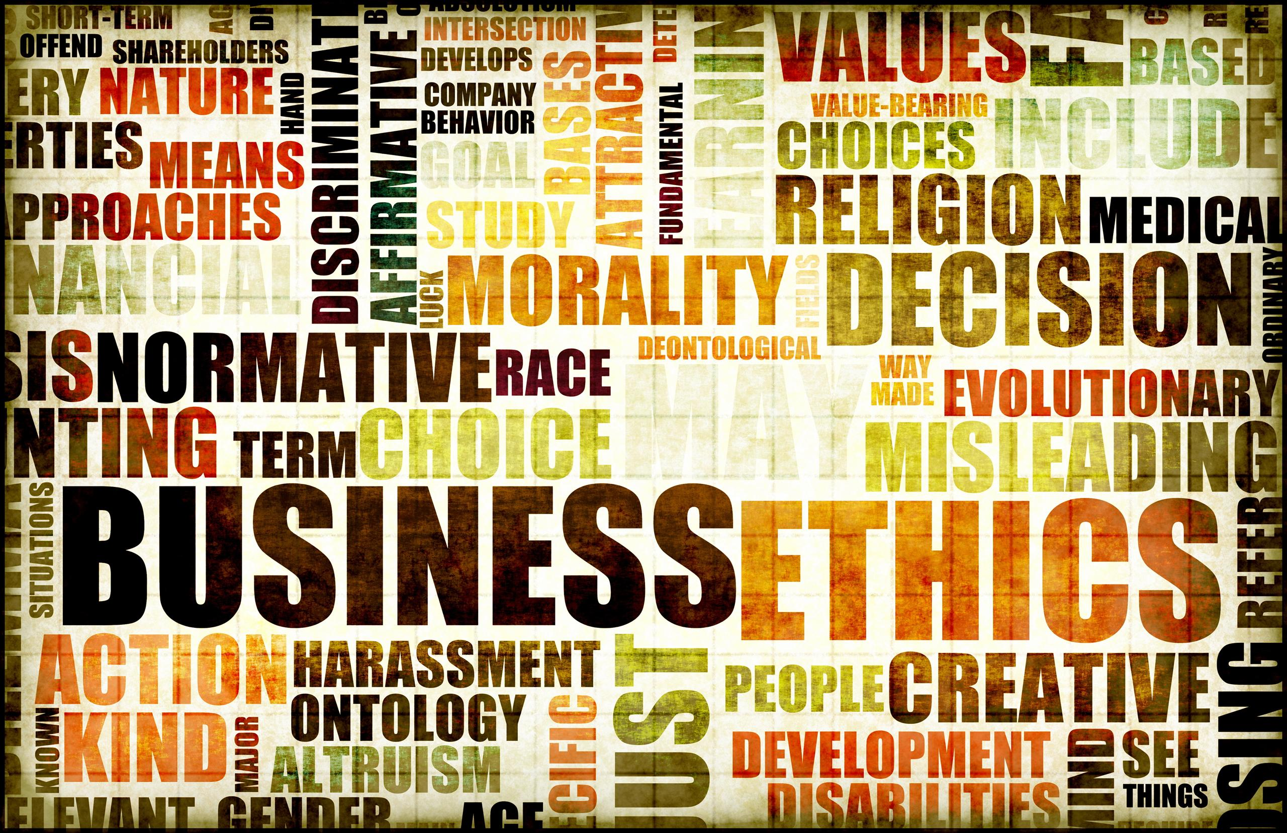 typographic image showing the term 'business ethics' and related words