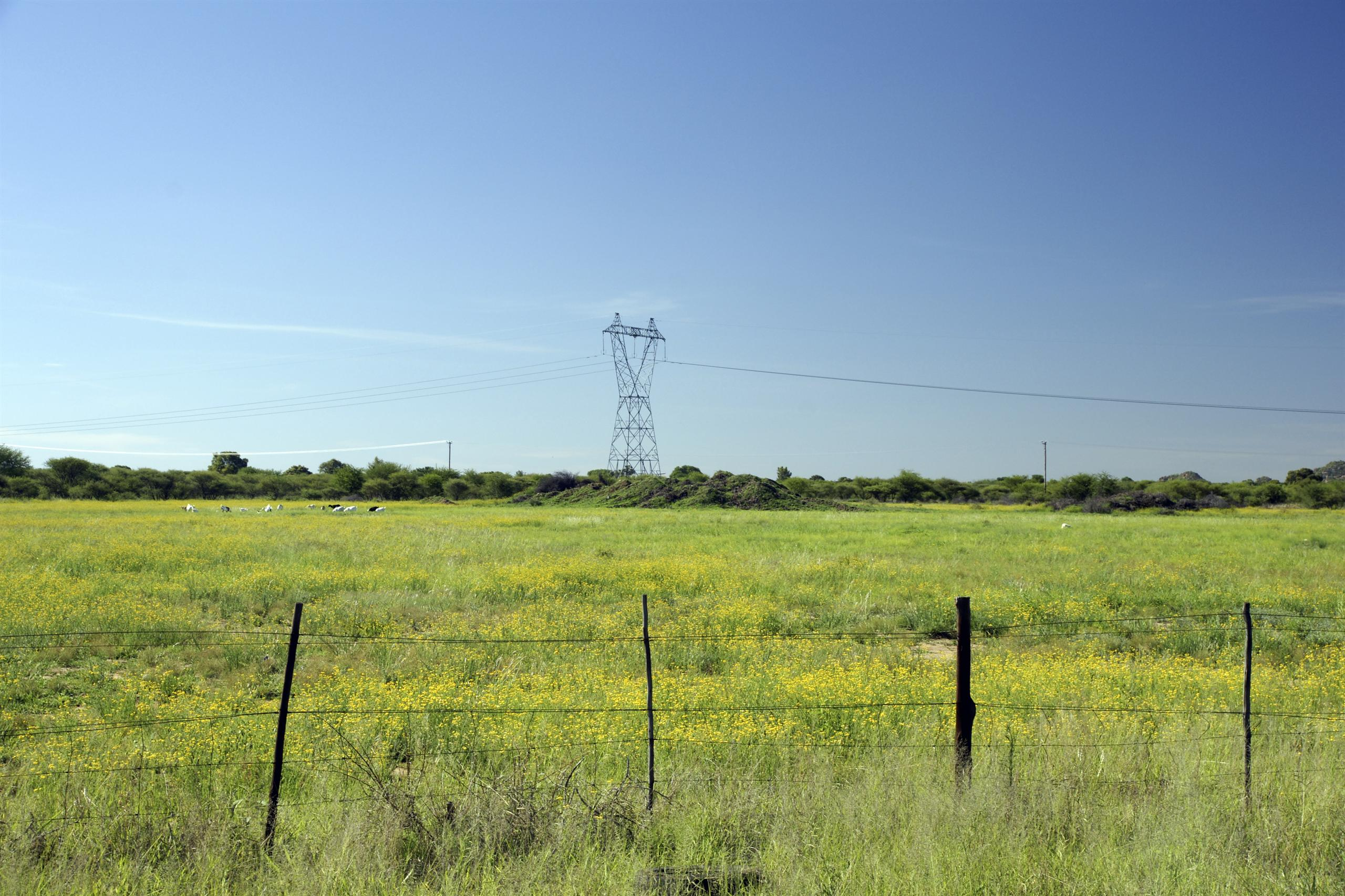 Power transmission pylon in Botswana