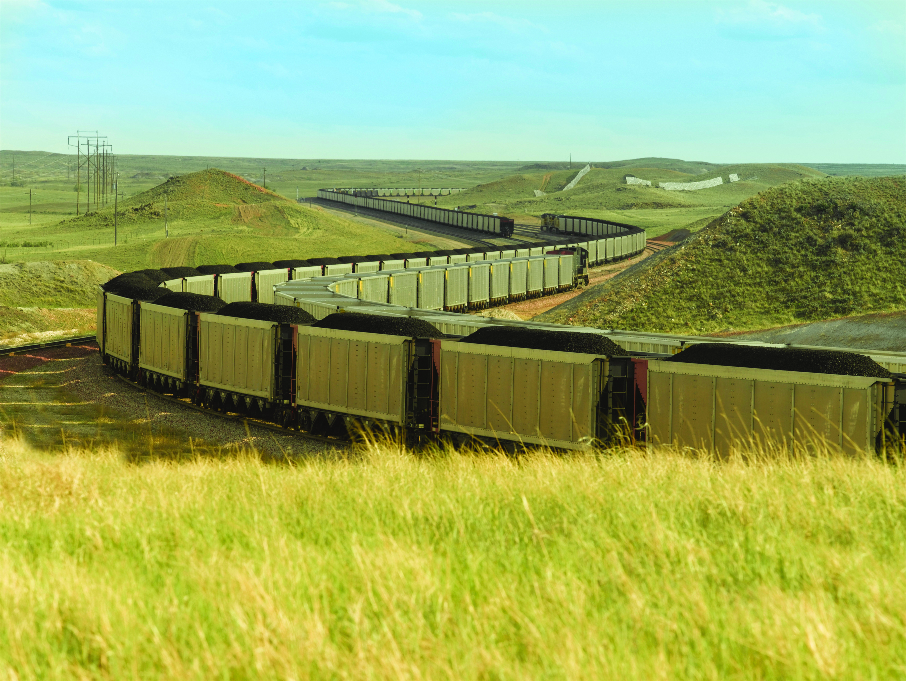 Goods train carrying coal