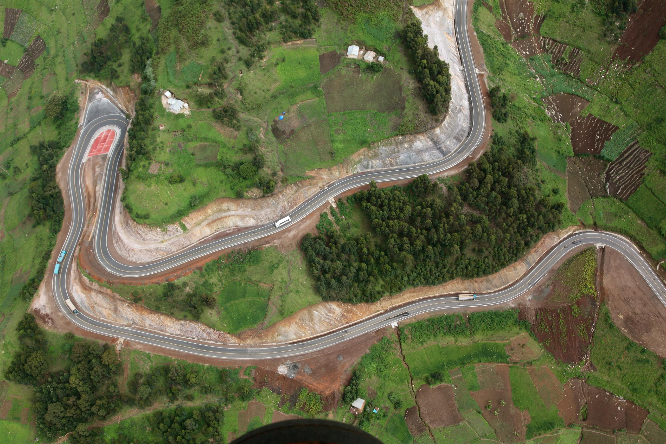 Road snaking through Ugandan village