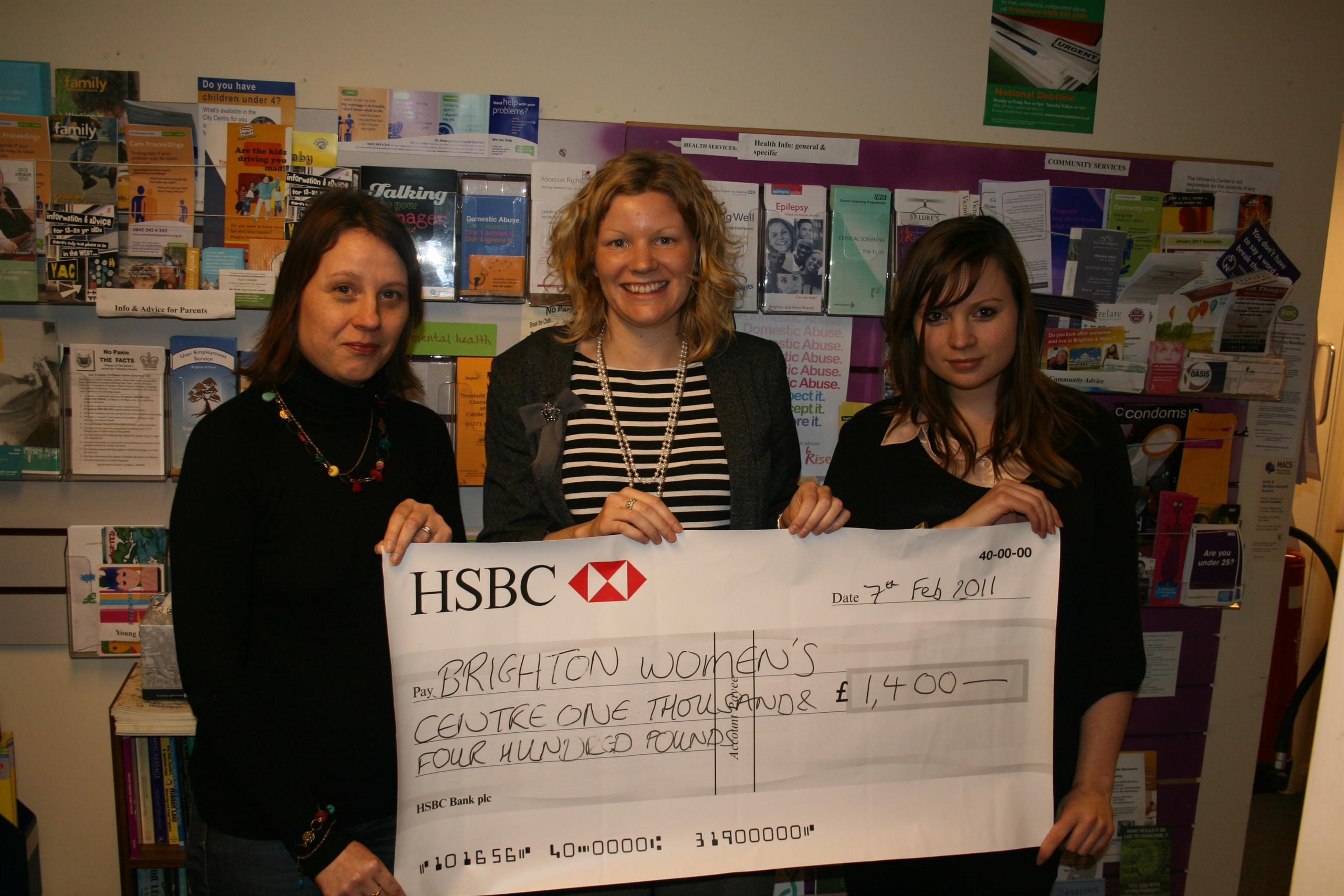Presenting a charity cheque with colleagues