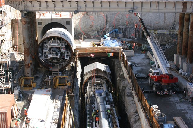 Two tunnel boring machines in the ground