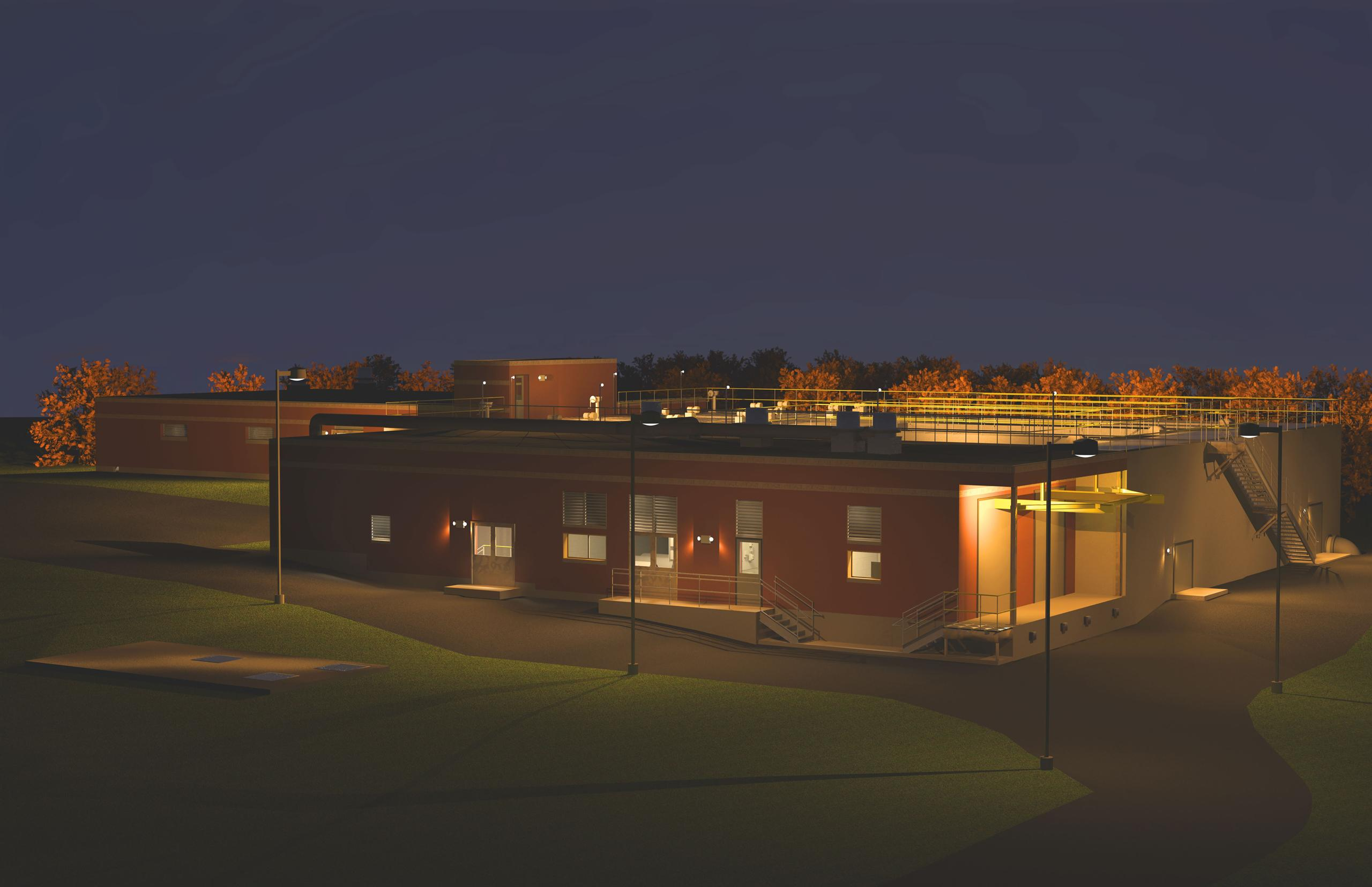 Visualisation of water treatment plant at night