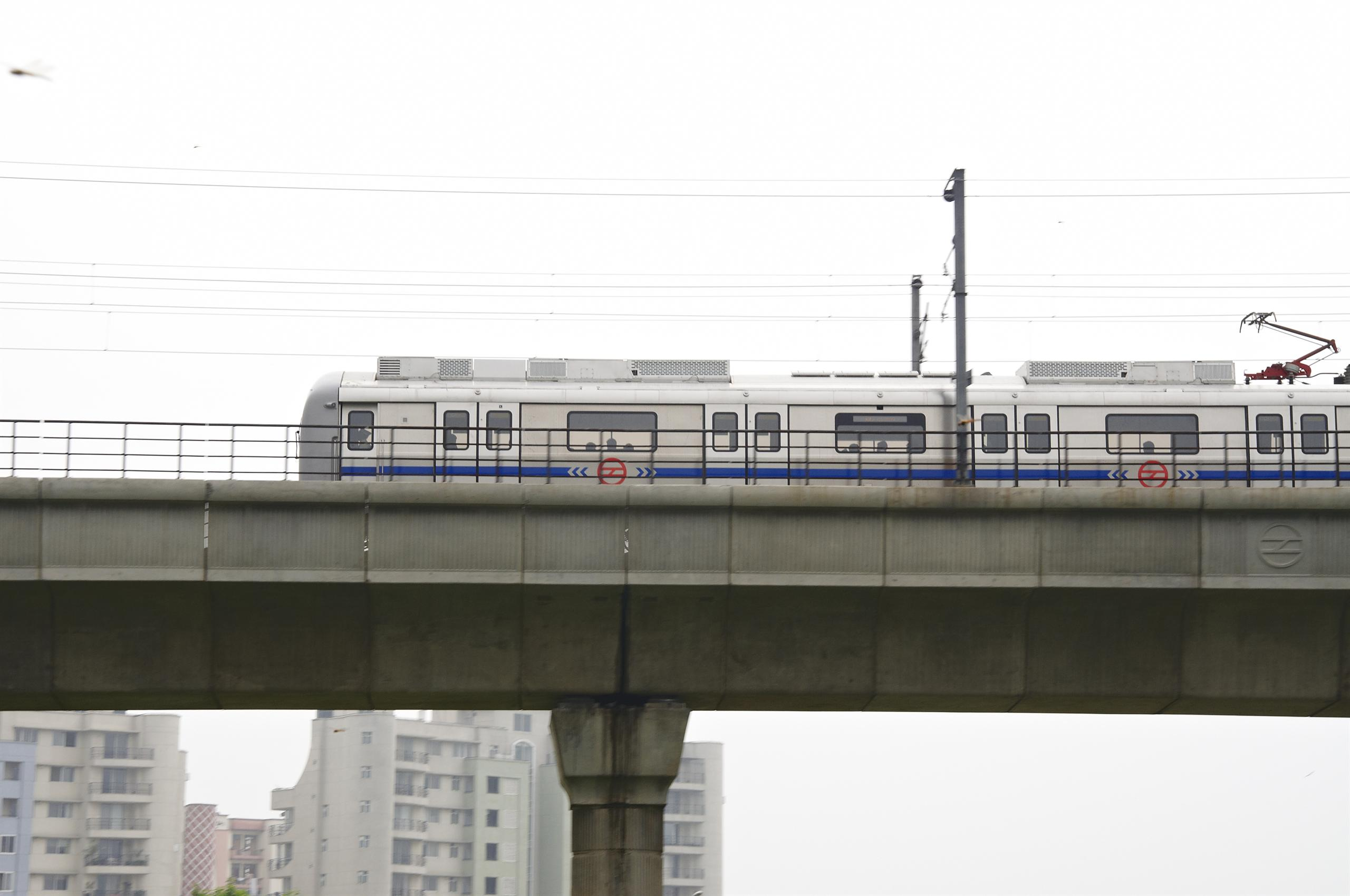 Metro train on elevated track