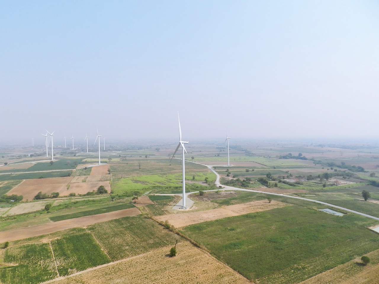 Landscape photo of the Huay Bong wind farm