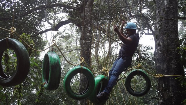 Rajesh Ranjit (Senior Mechanical Engineer) on an obstacle course.