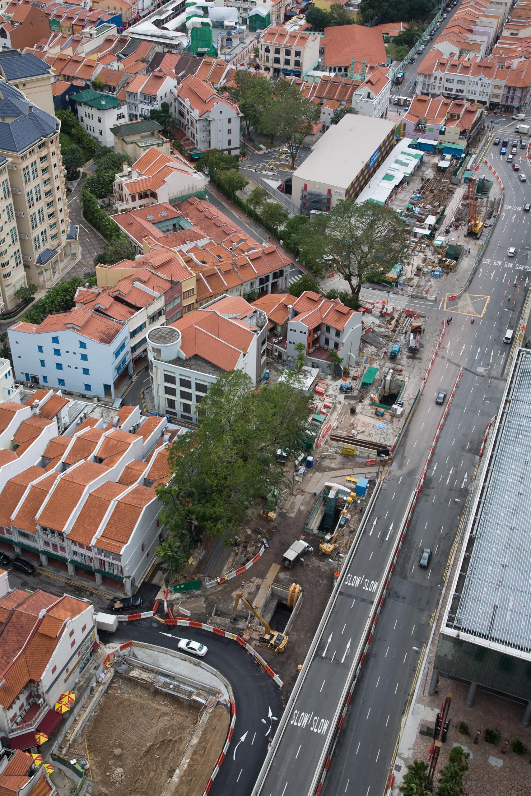 Aerial view of underground station under construction