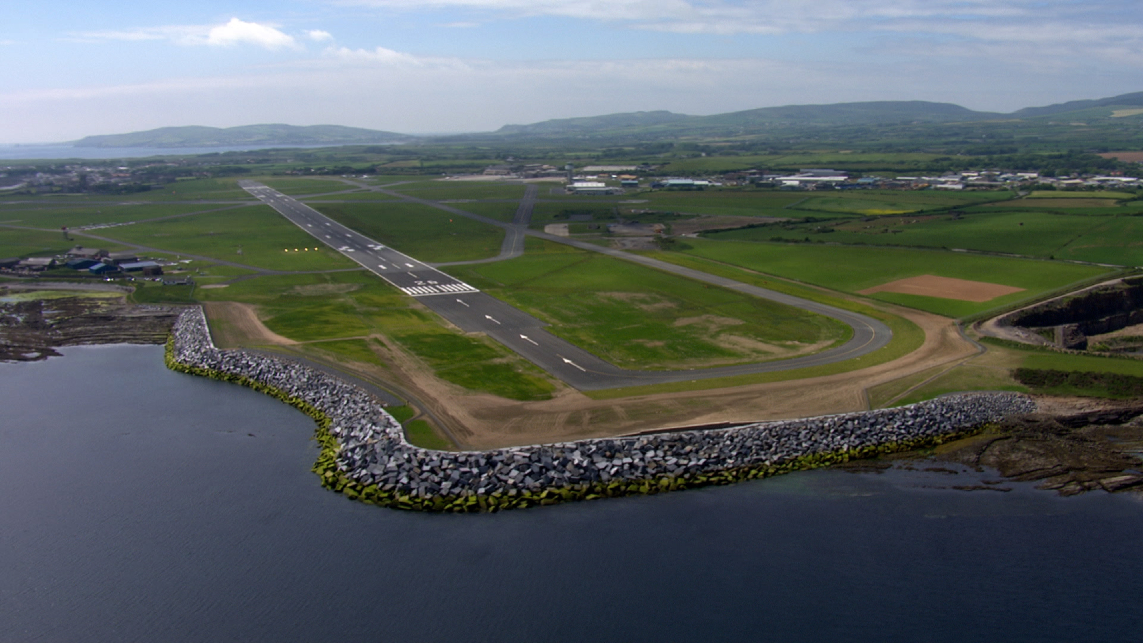 View of the completed Isle of Man runway extension with armoured revetment