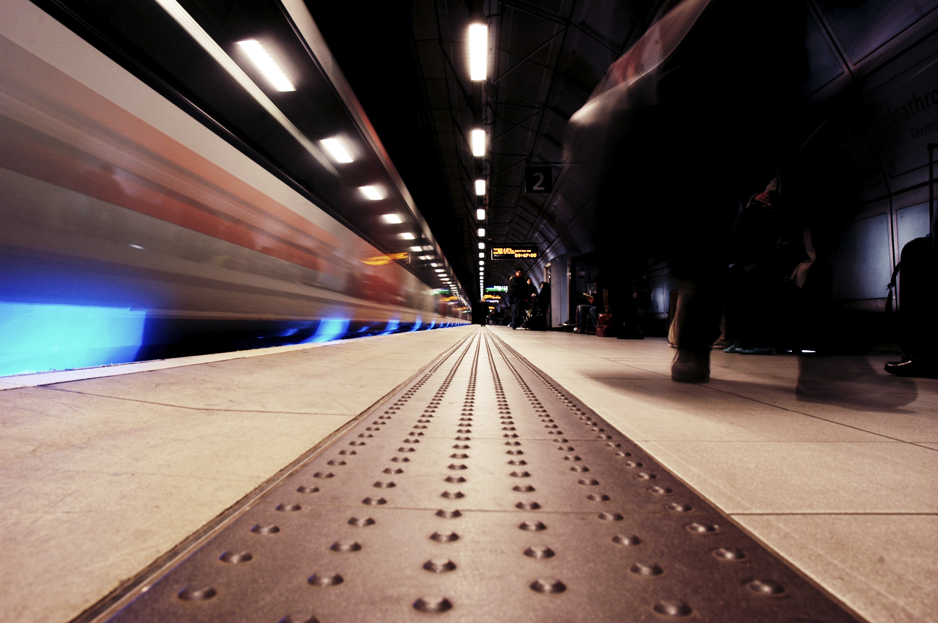 Moving train on a London underground platform