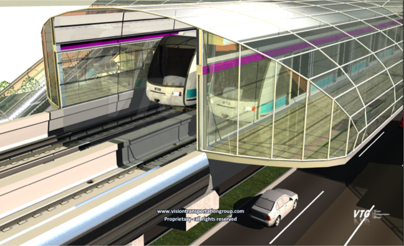Computer generated impression of LRT vehicles at an elevated station