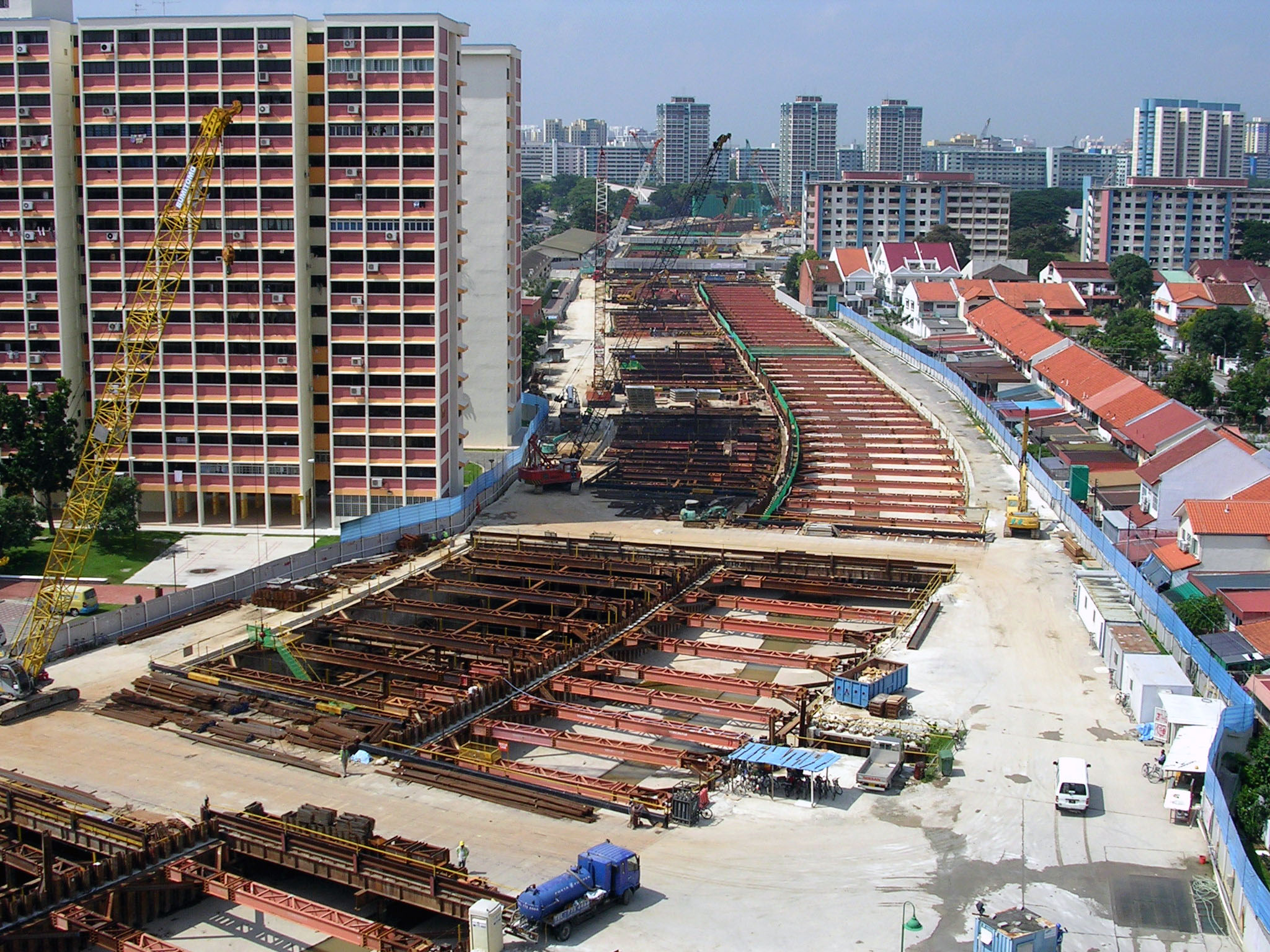 Foundations of the expressway being laid on