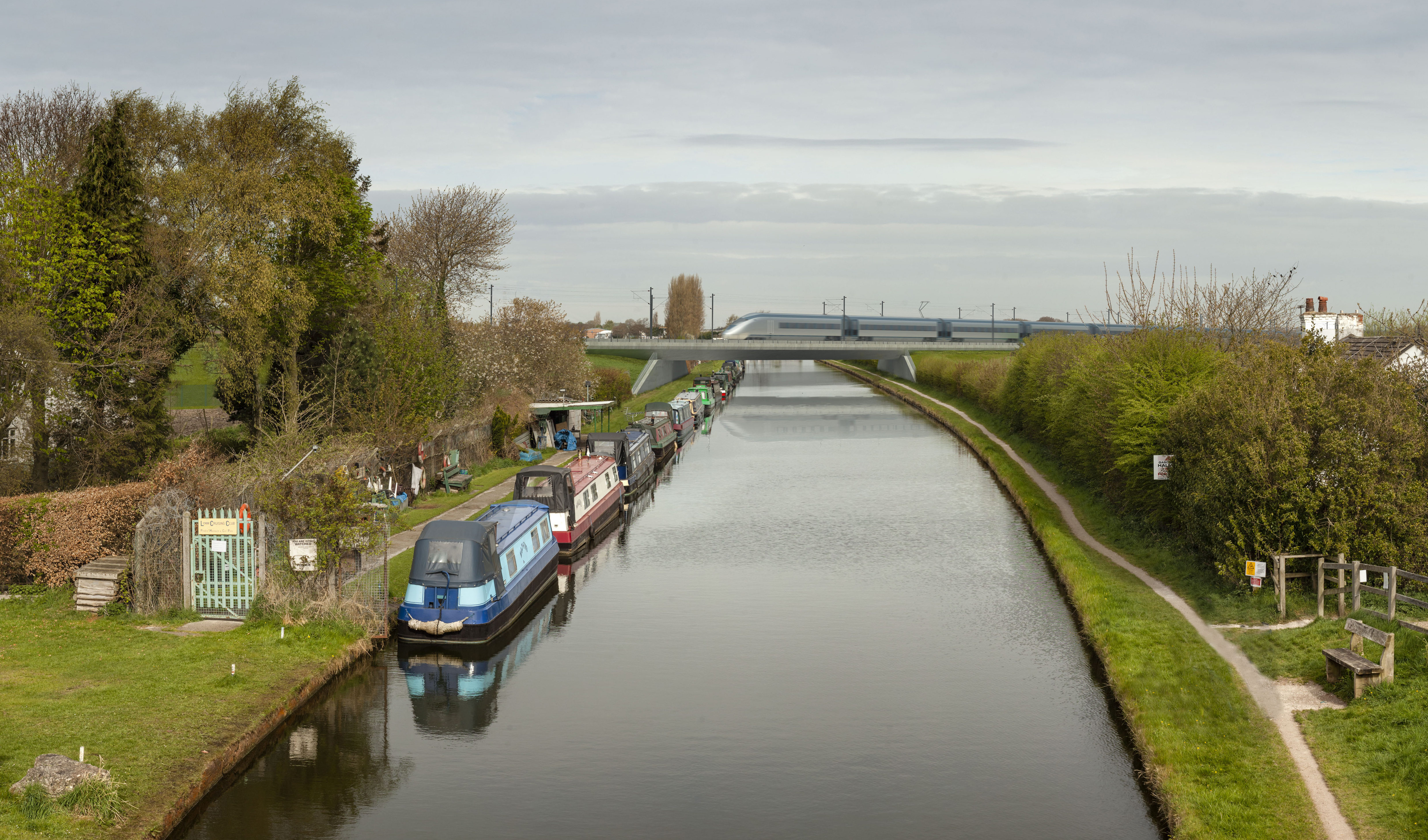 artist's impression of HS2 crossing a canal