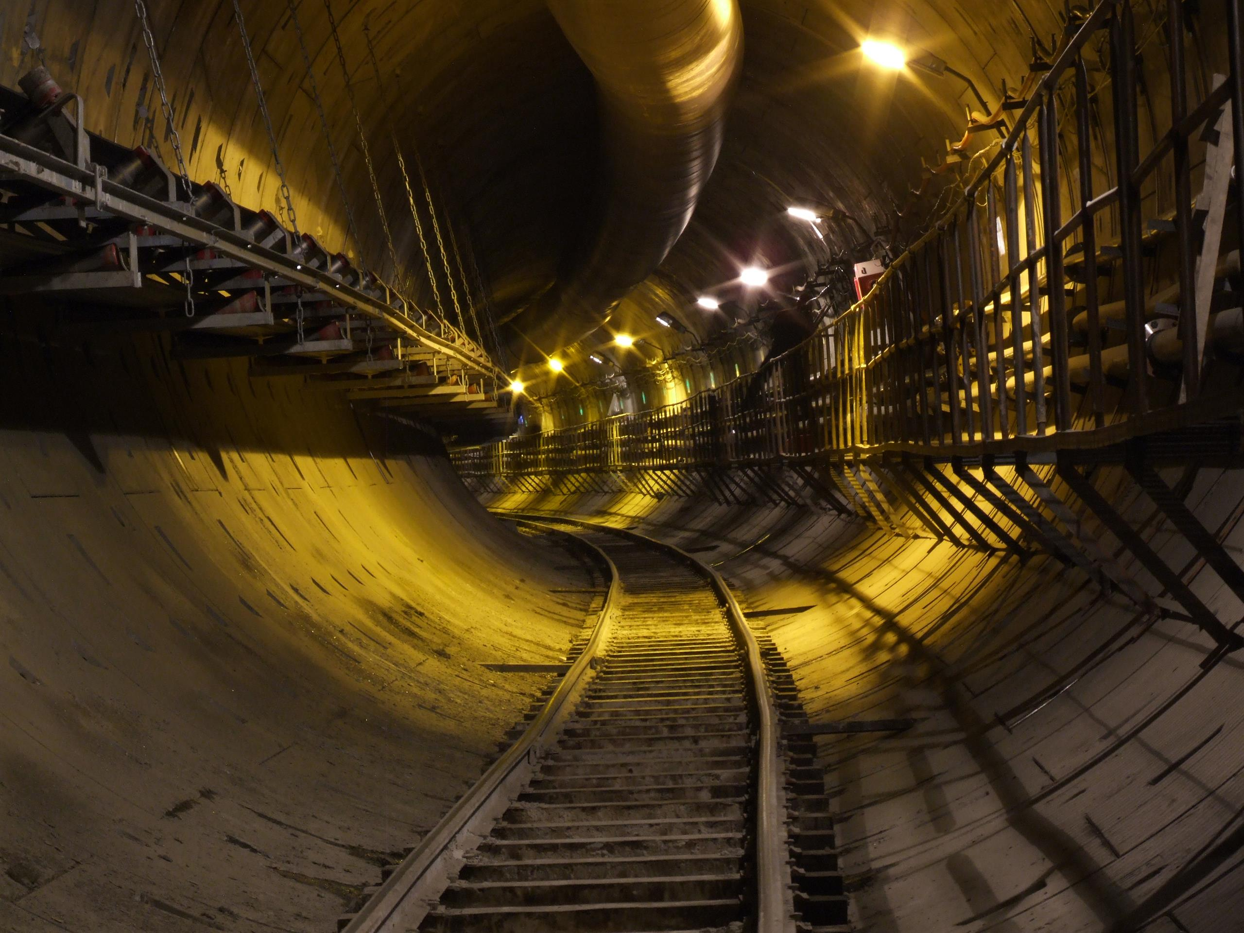 Rail tunnel with track installed