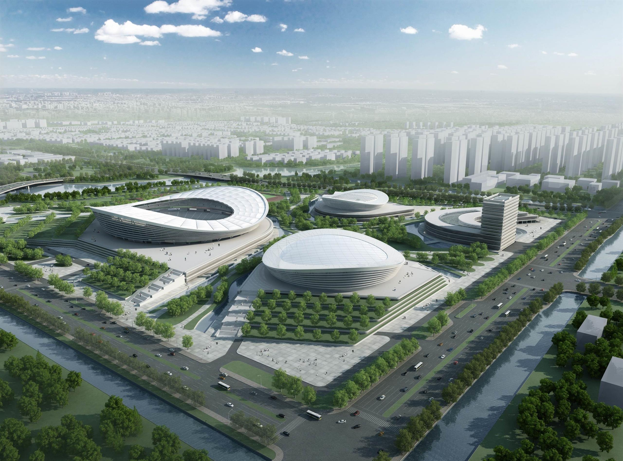 Computer generated image of Suzhou Sports park