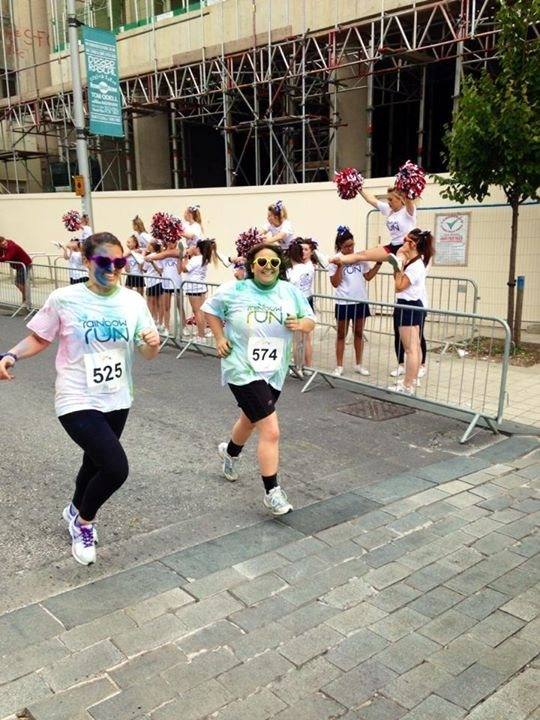 Taking part in the 'Rainbow Run', with my sister; raising money for Naomi House children's hospice.