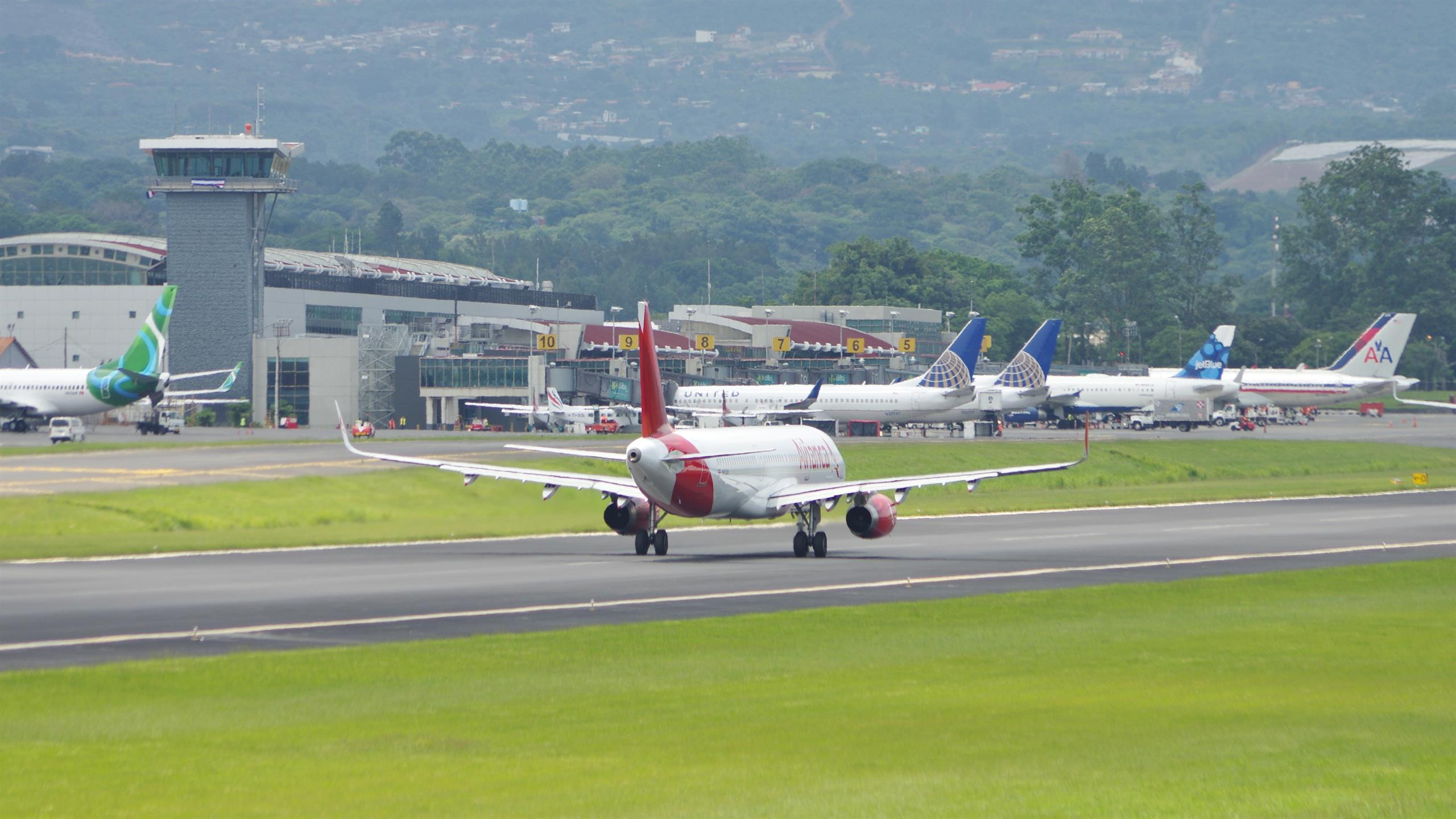 Plane on the airport runway in Costa Rica