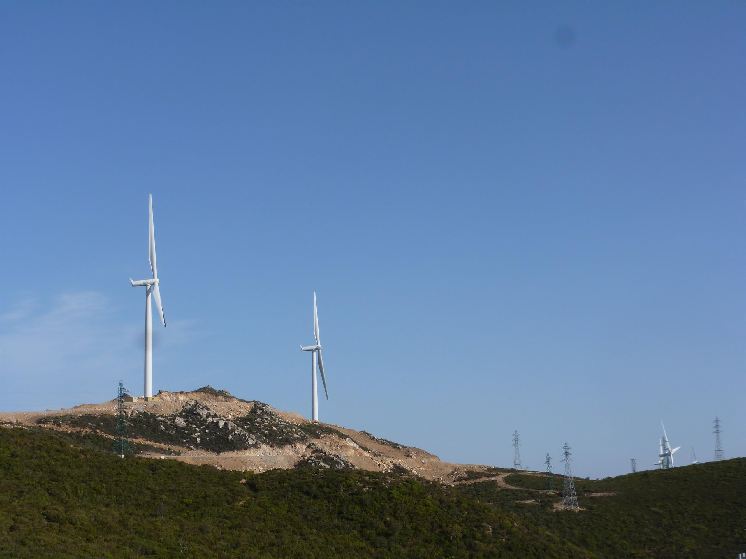 View of the wind farm in northern Morocco