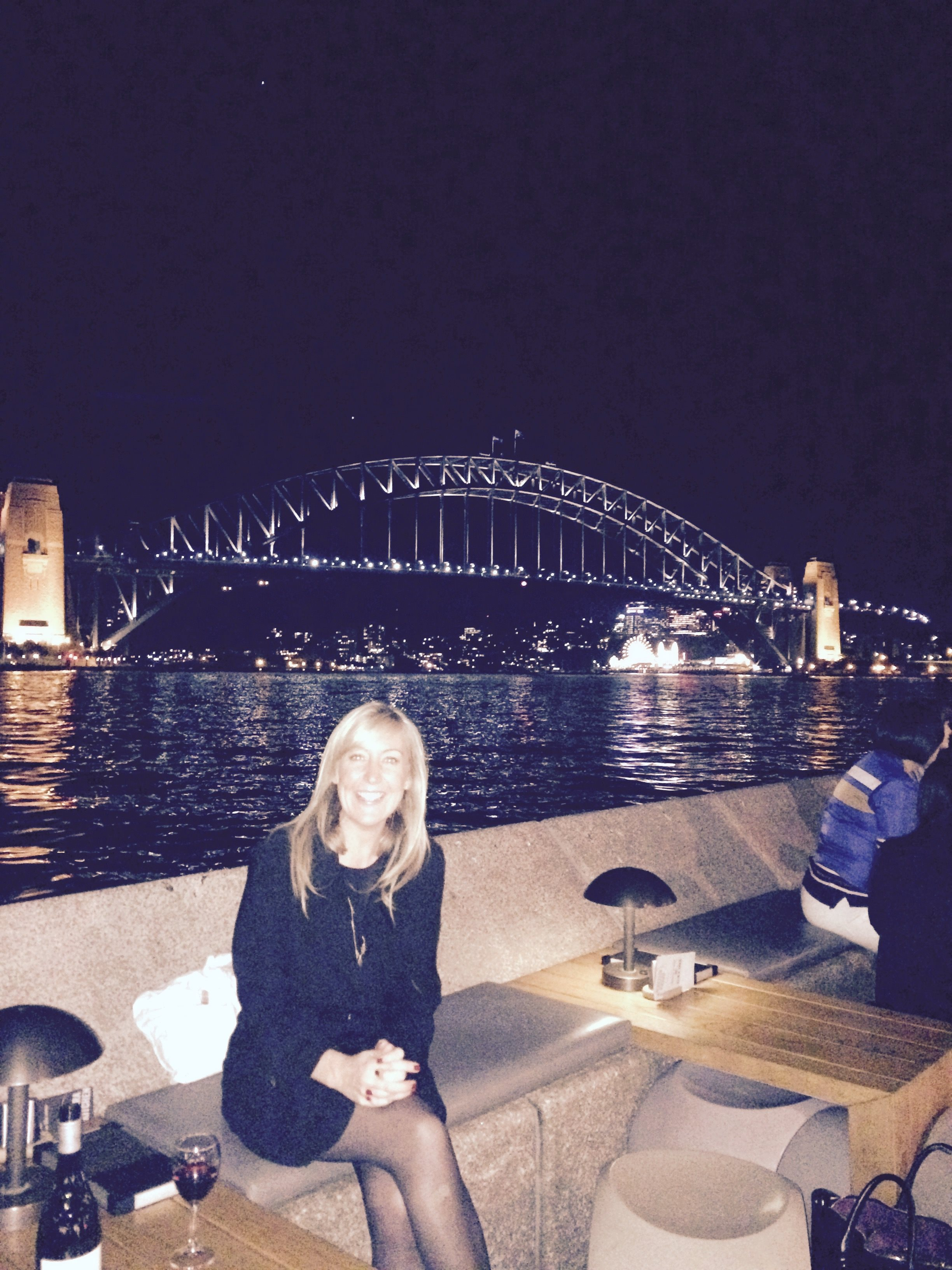 This is Rose at the Sydney Opera House next to the Harbour Bridge having completed the first stage of work that we were commissioned to do for Transport for New South Wales – wine was also involved.