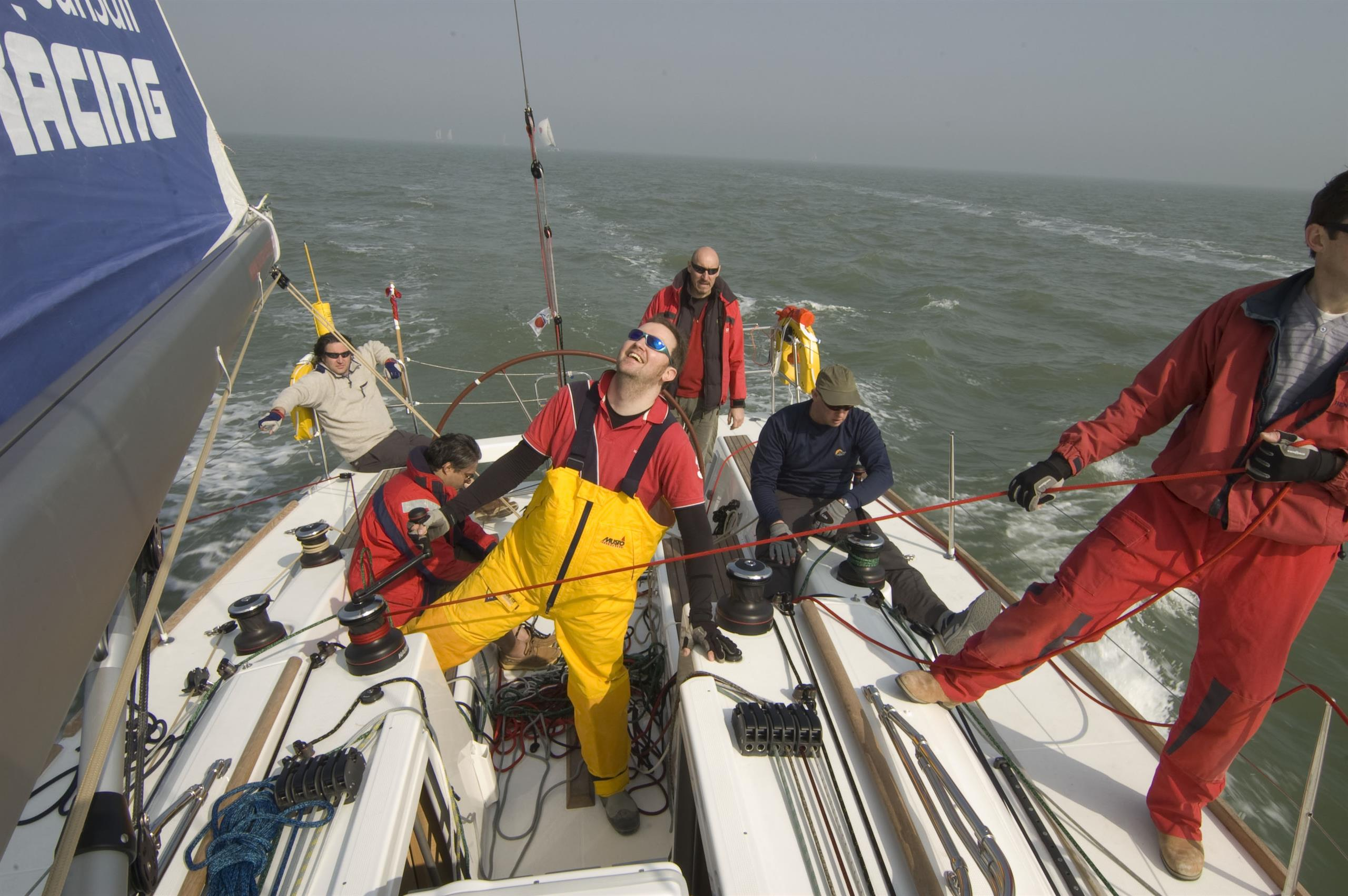 Paul offshore racing on the English Channel, UK.