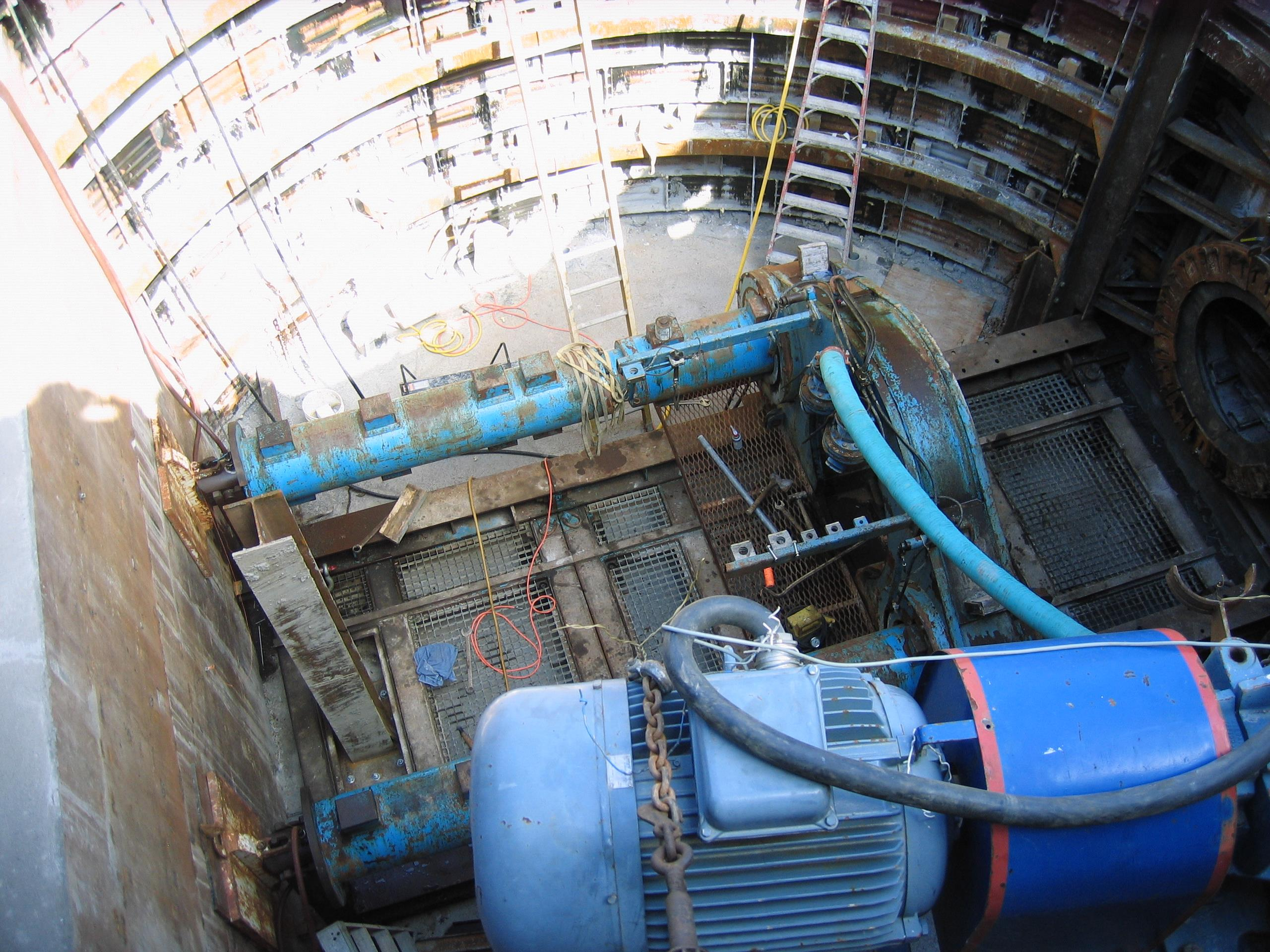 Aerial view of the tunneling machine