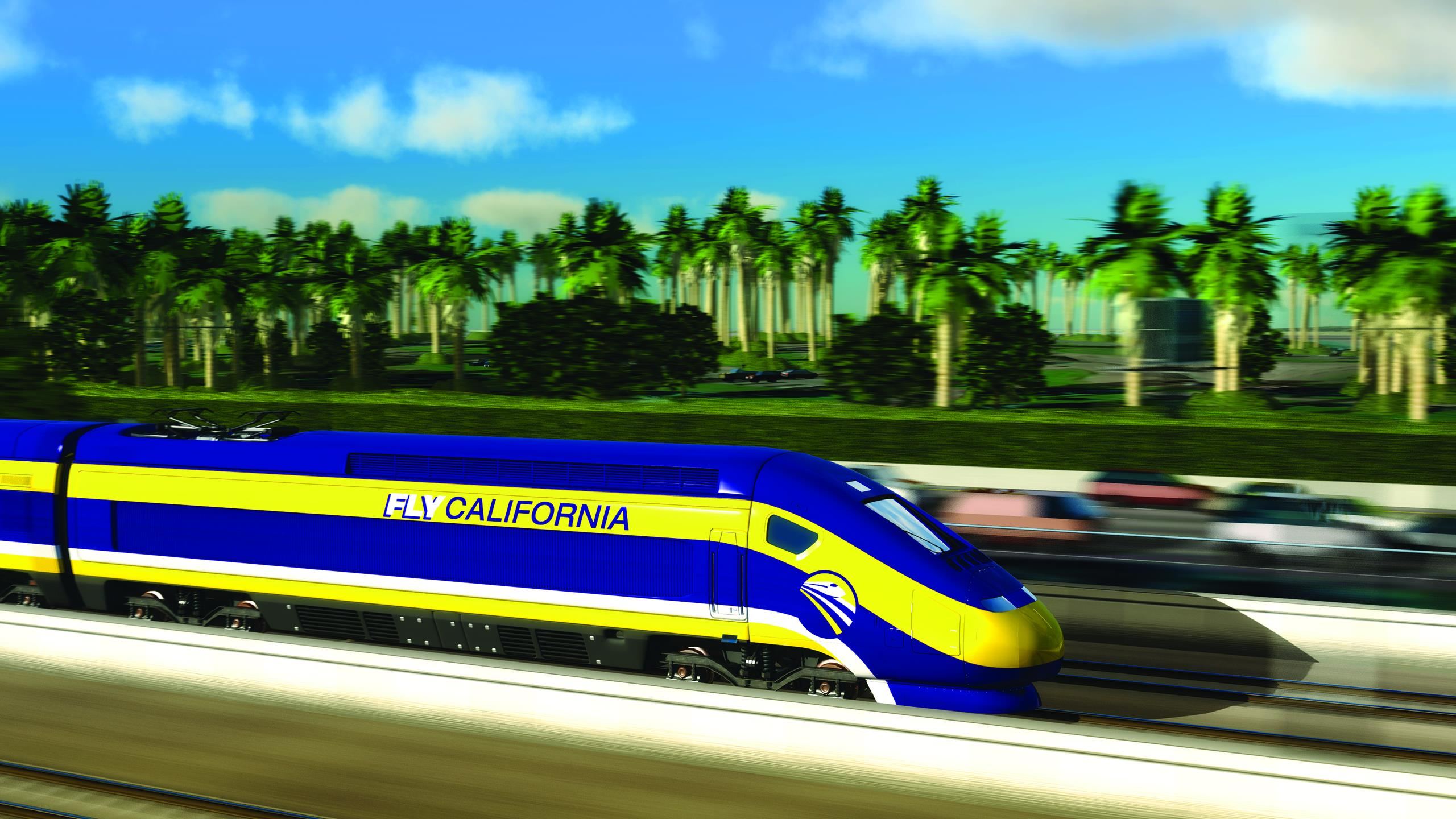 Computerized image of a train on the California high-speed rail