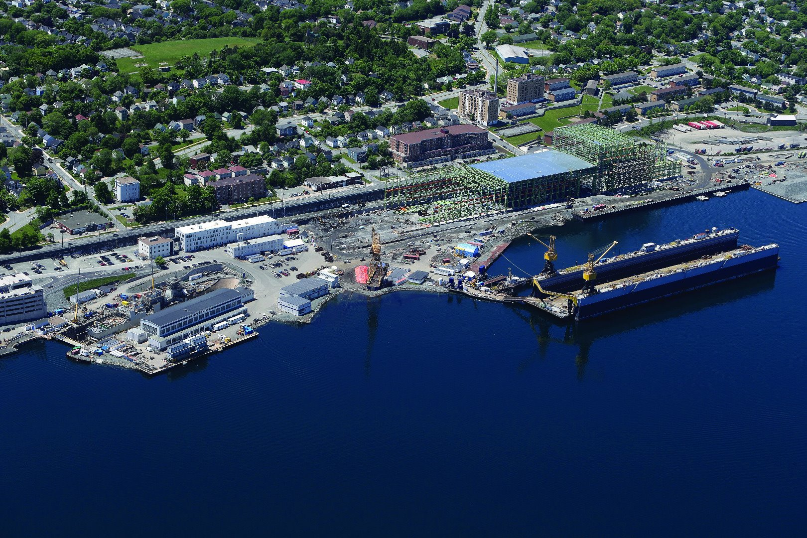 Aerial shot of the shipyard