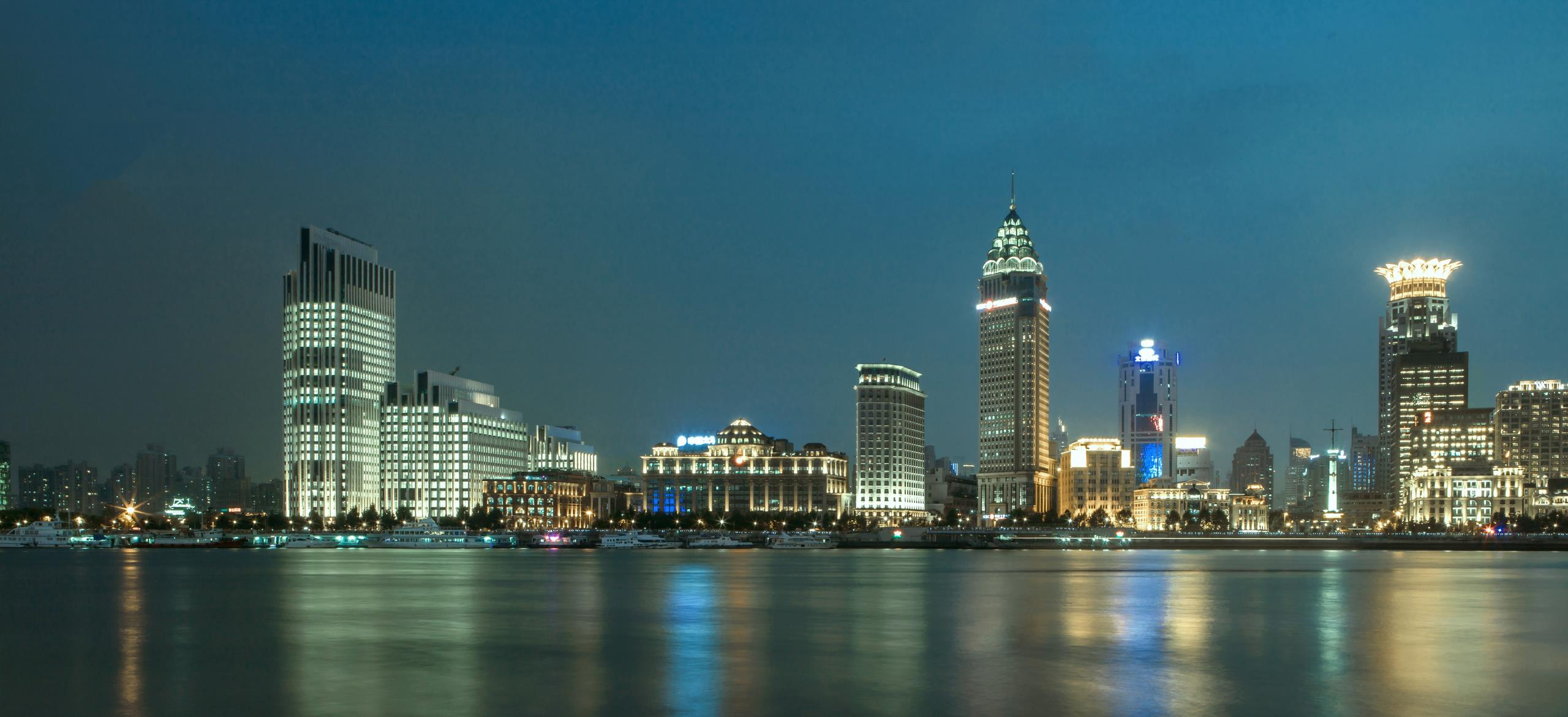 View of the 21st century landmark development on the Bund during the day