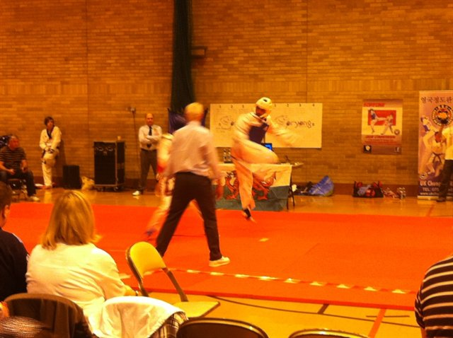 Rob's main hobby is martial arts, here Rob competes in a taekwondo competition.