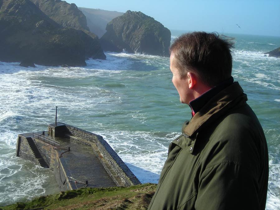 David in Cornwall, overlooking Mullion Harbour