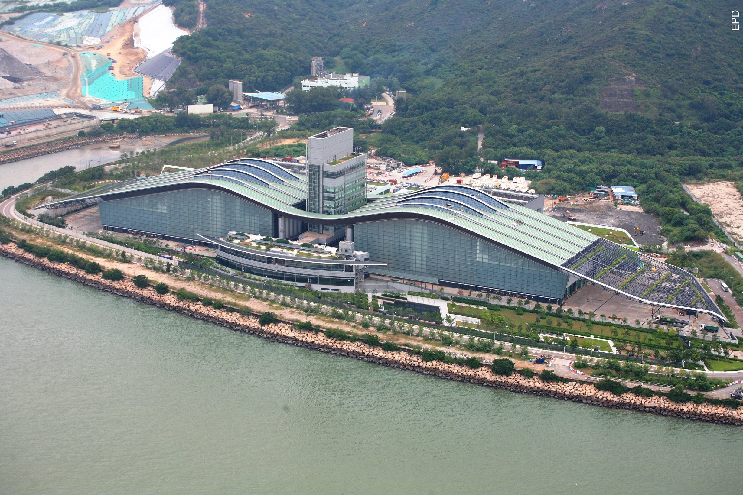 Aerial view of sludge treatment facility
