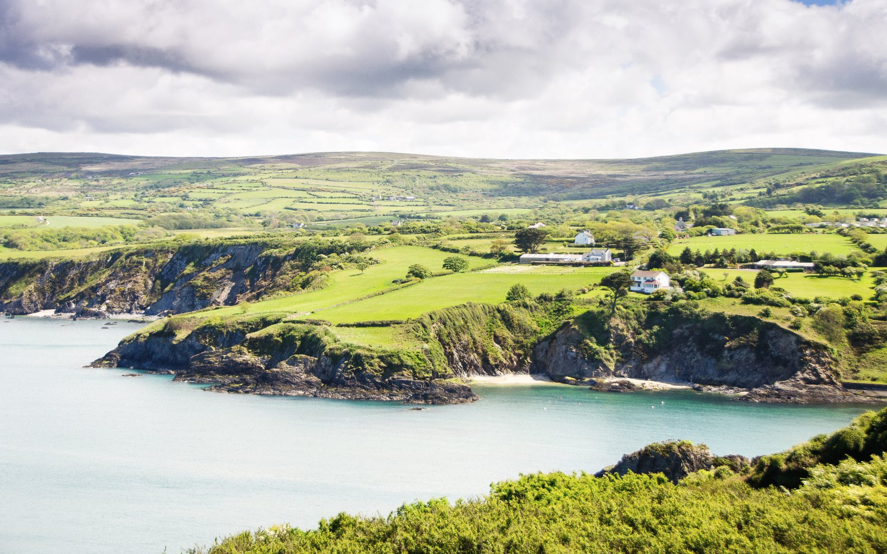 Landscape view of the coastline in Wales