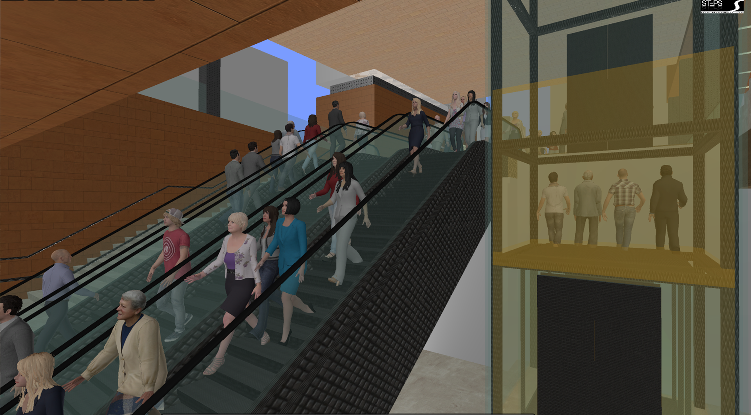 STEPS animated people models using lifts, stairs and escalators for vertical transport