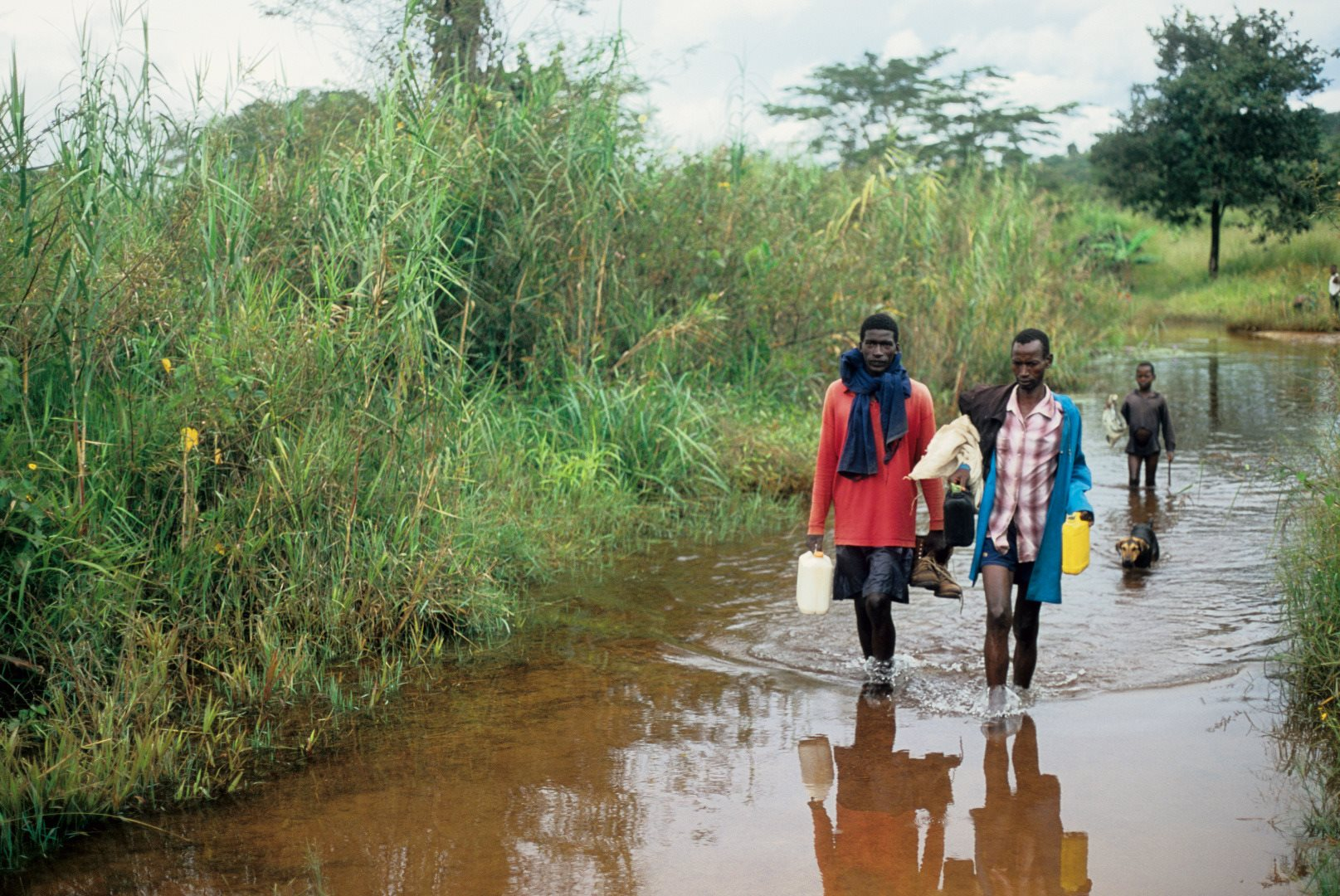 Men carrying water near Lake Victoria