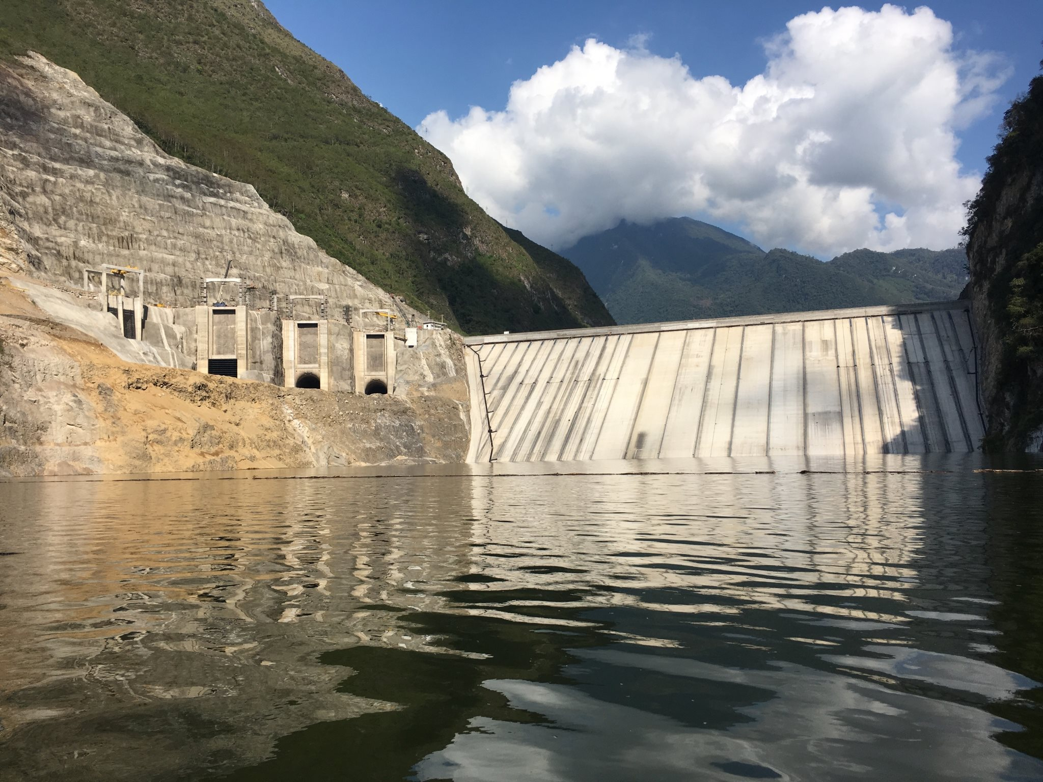Chaglla hydropower dam, Peru, during impoundment.