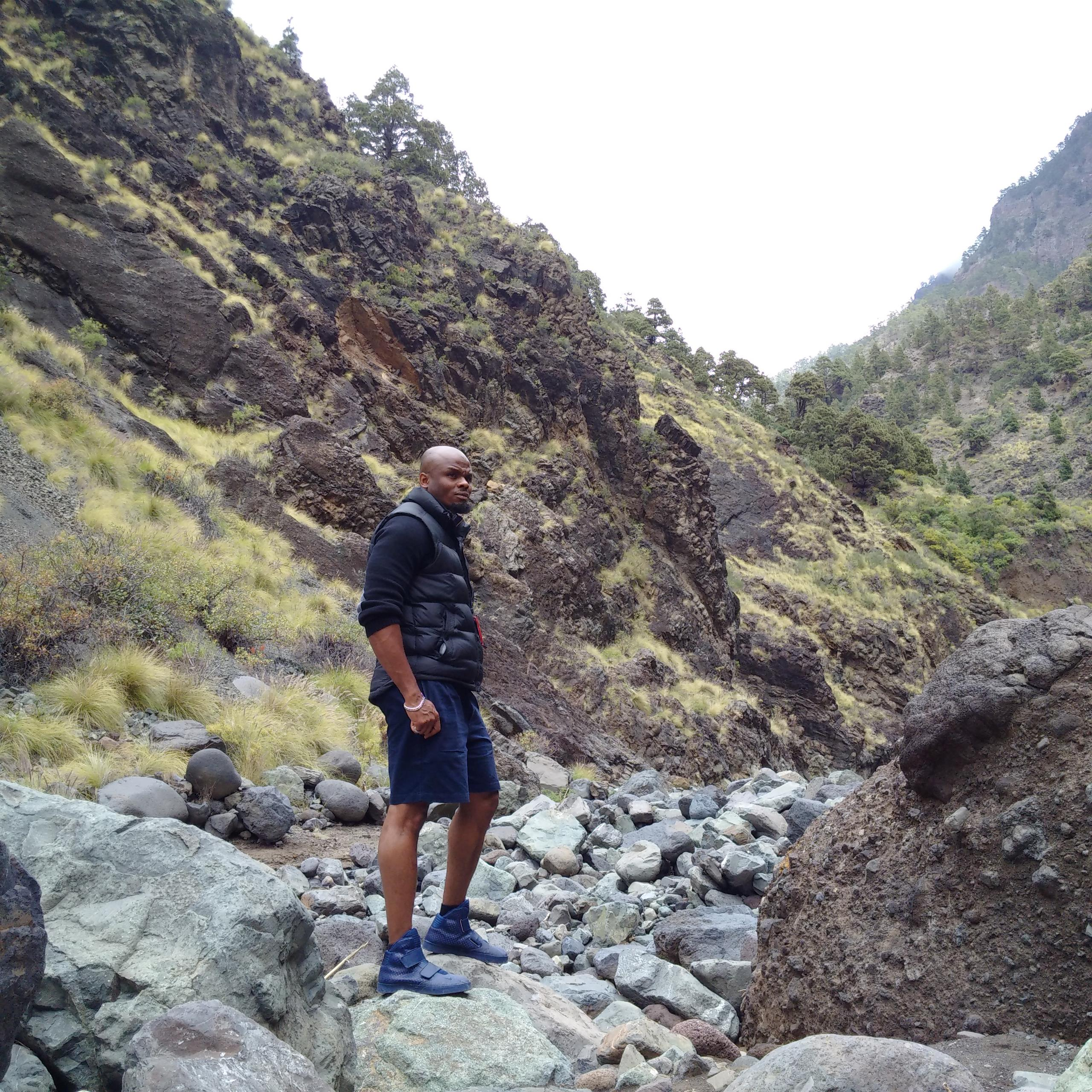 Olusegun on a visit to the volcanic settlements of La Palma in the Canary Islands