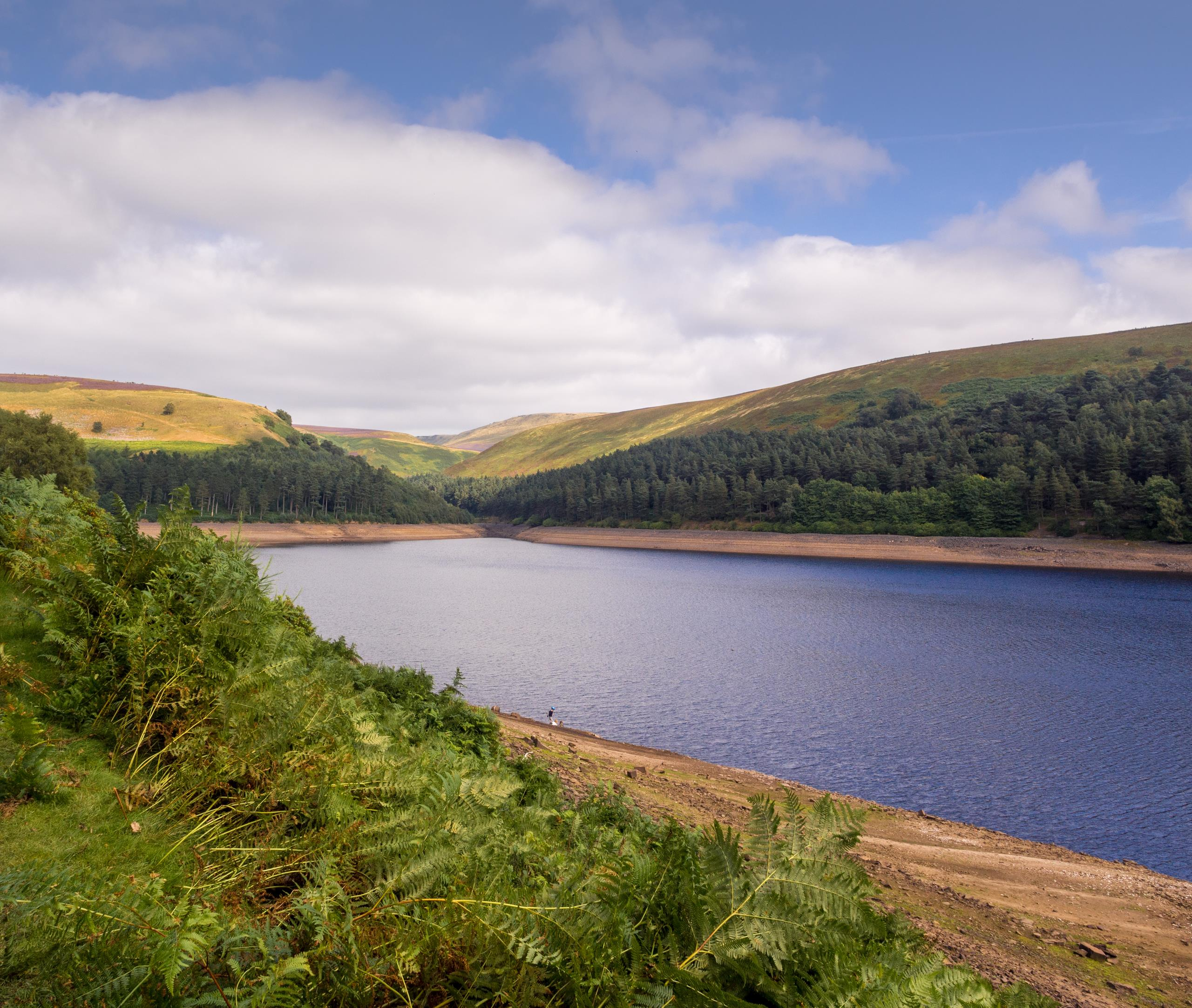 Picturesque view of Upper Derwent reservoir at low level