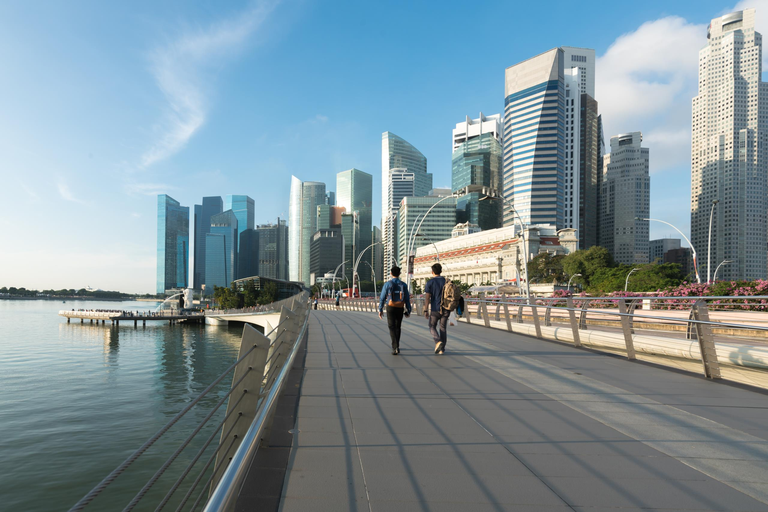 View looking down the length of Marina Bay in Singapore