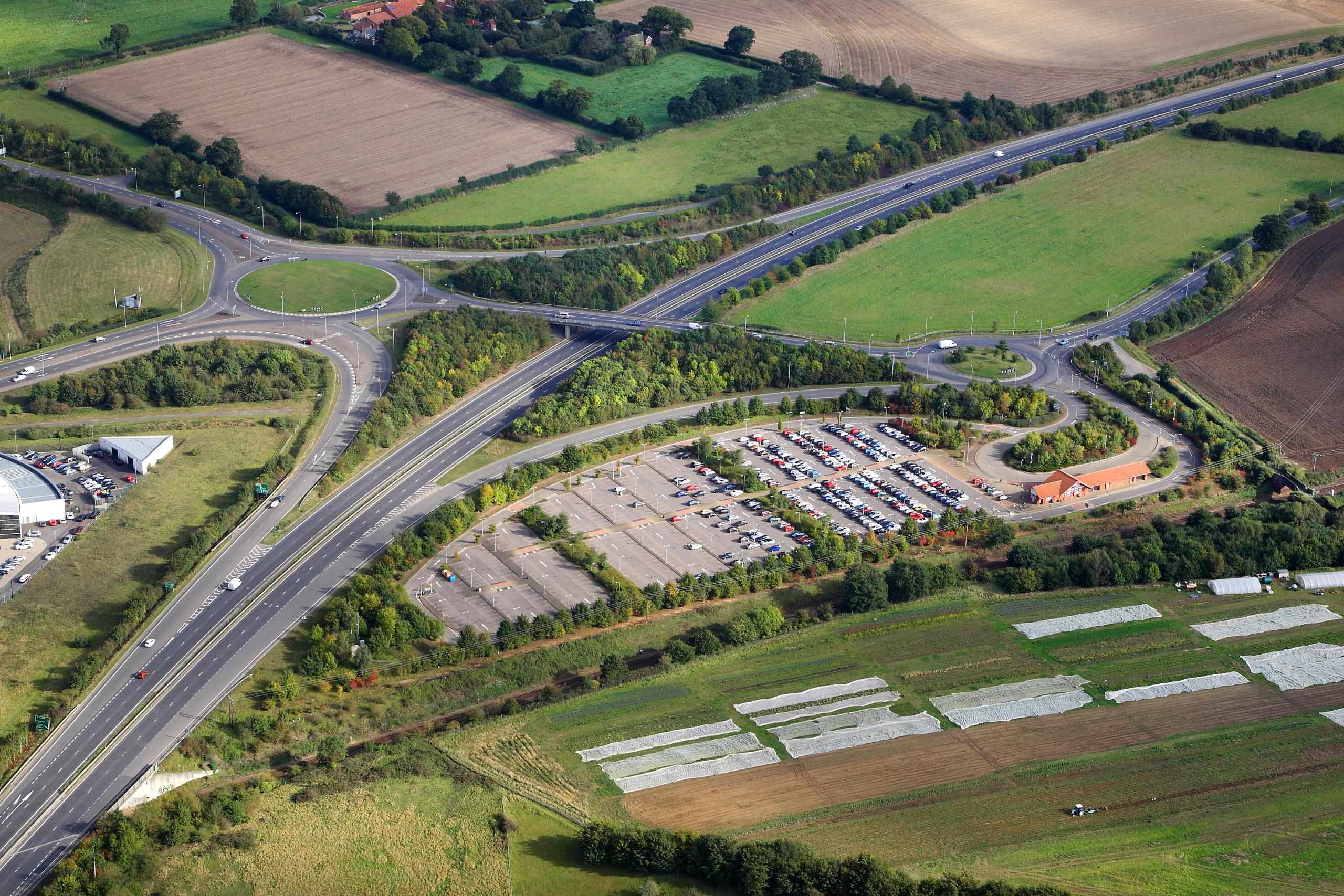 aerial view of a section of the A47