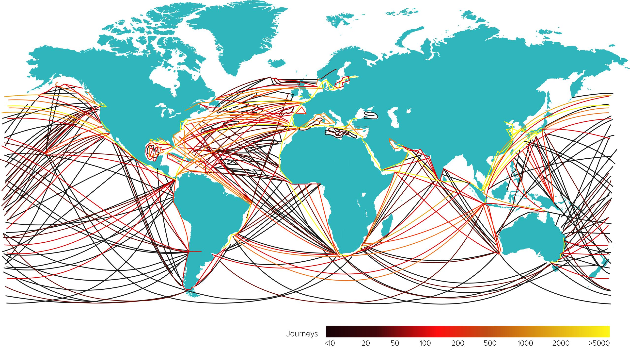 World map with shipping lines