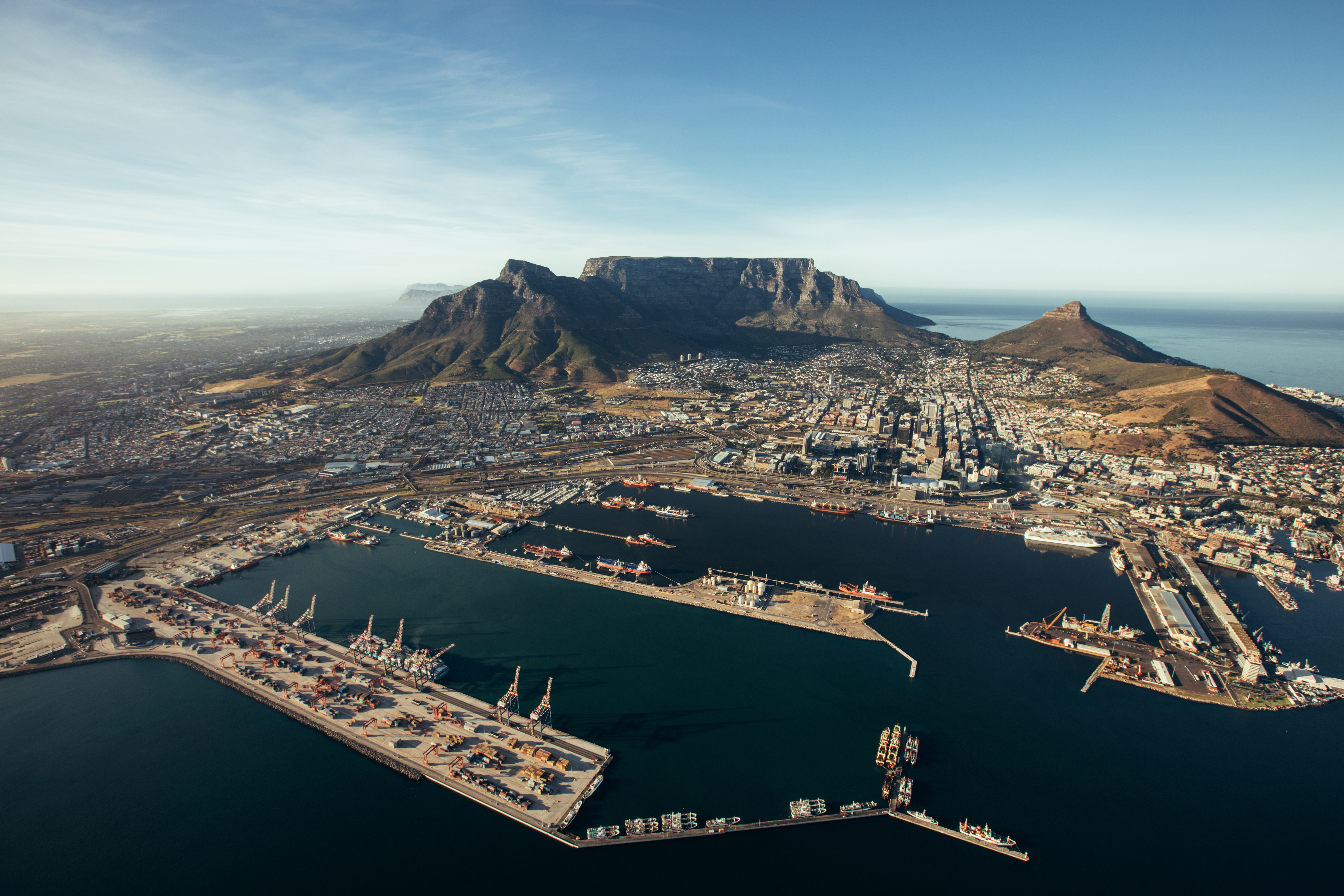 Aerial view of entrance of the port of cape town. Commercial docks of cape town harbour