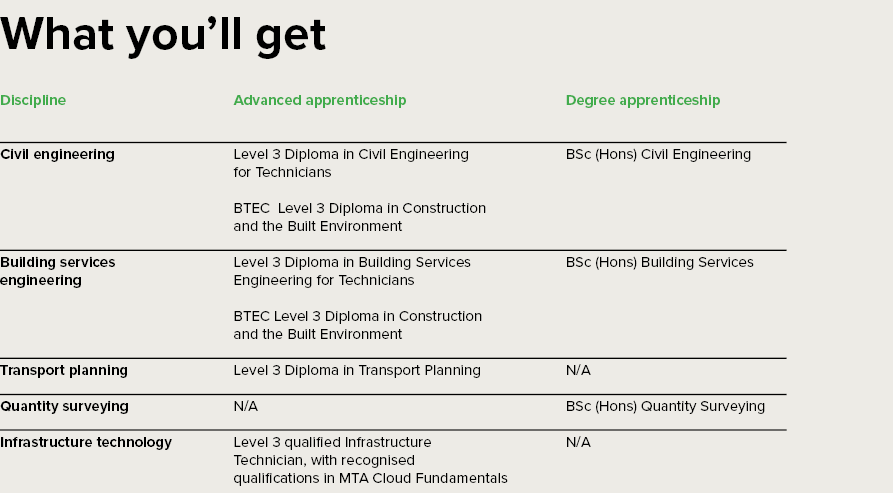 Table showing UK apprenitceship routes