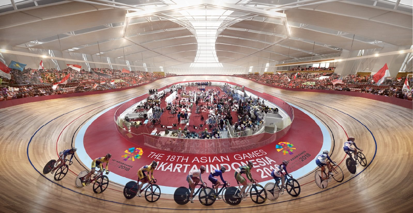 Cyclists riding around the new state of the art Velodrome that was created for the 2018 Asian Games in Jakarta