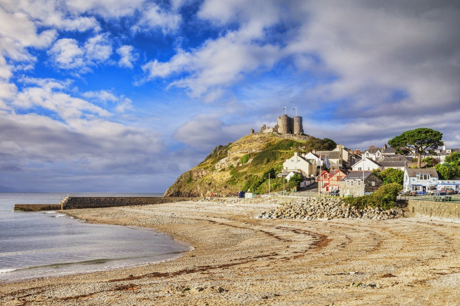 View of the coastline in Criccieth, Wales