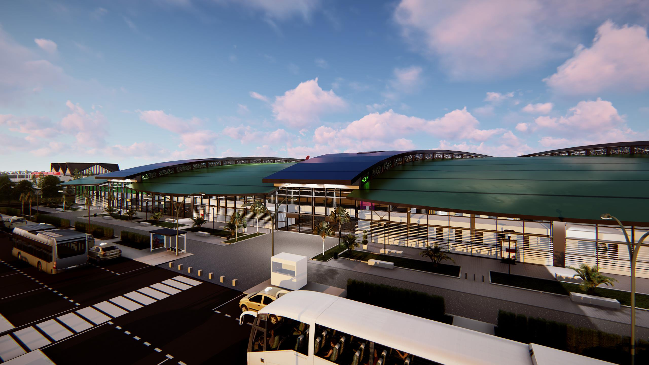 Building information modelling (BIM) image of what the modern airport facilities in Madagascar will look like once complete.