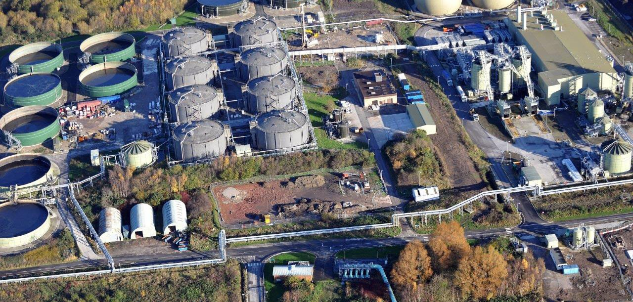 Aerial view of Davyhume wastewater treatment works in Manchester