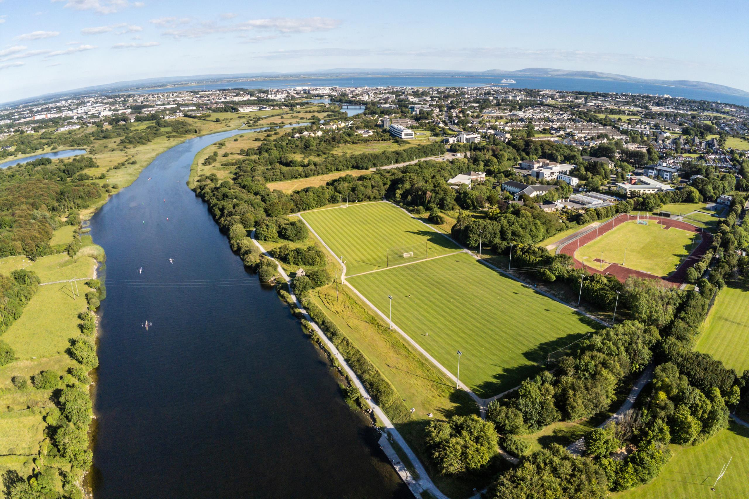 Aerial view of Corrib River and Galway city